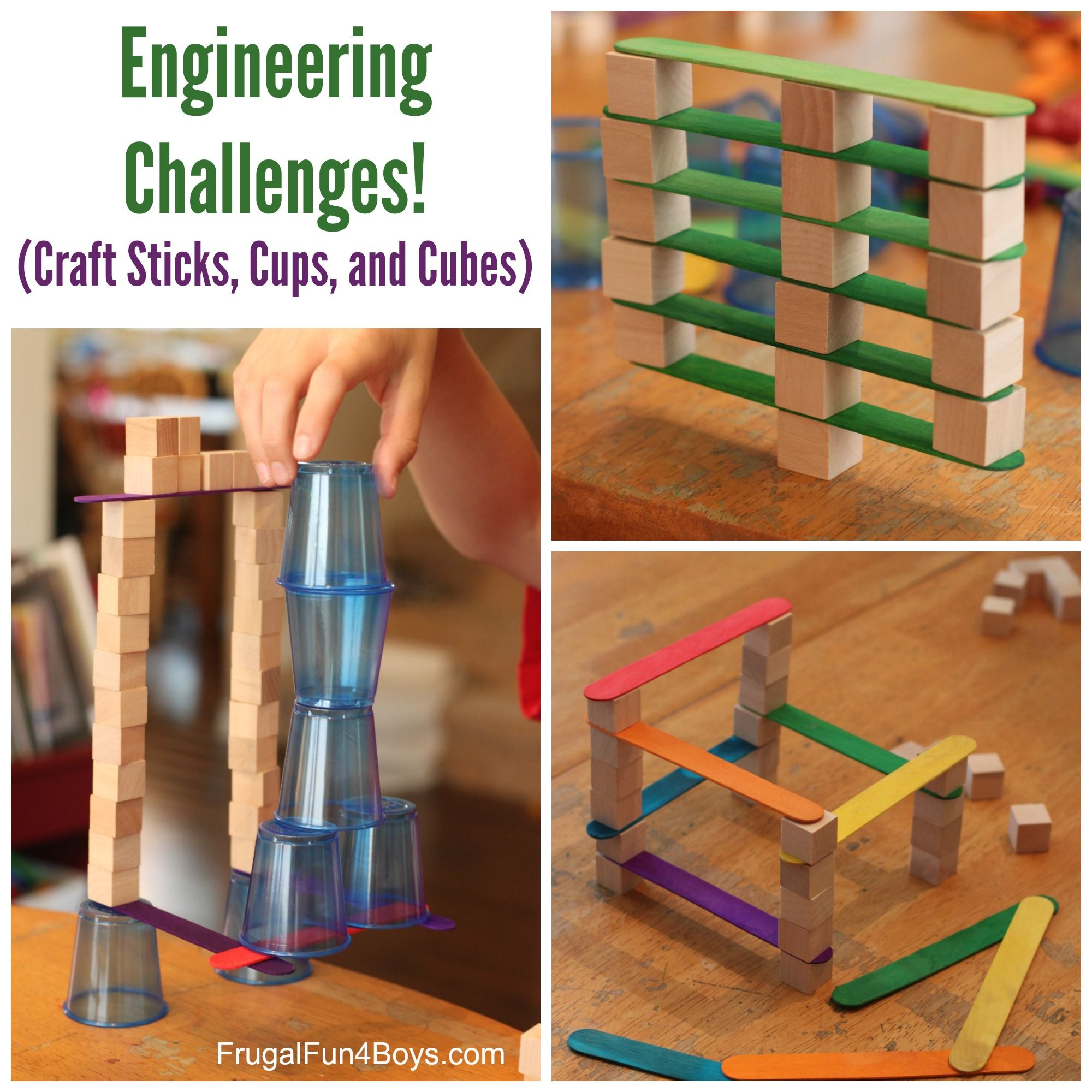 Child craft wooden blocks - 4 Engineering Challenges For Kids Craft Sticks Plastic Cups And Wooden Cubes