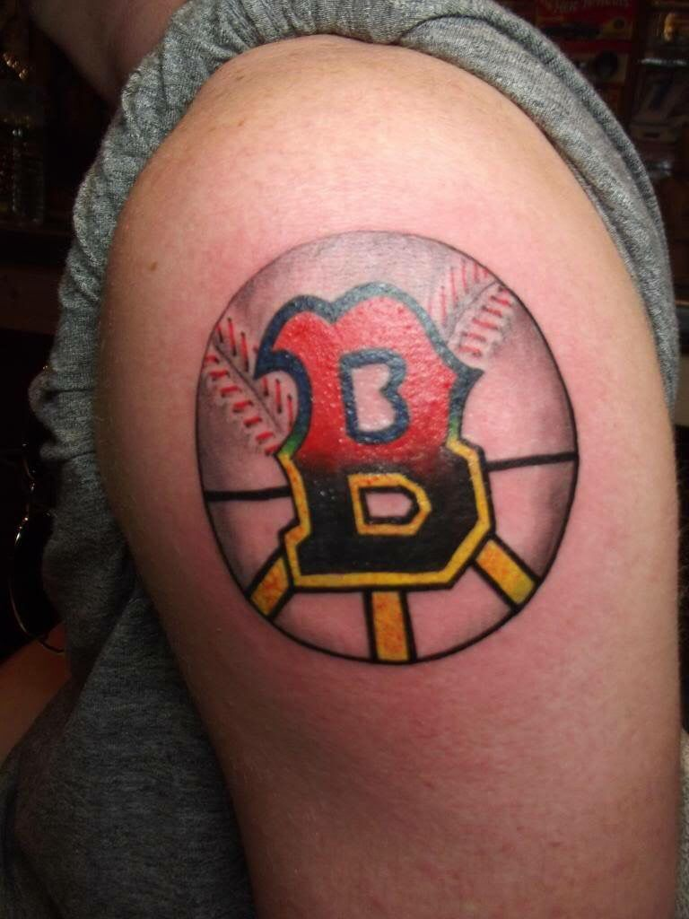 tattoo of the letter b half for boston red sox other half for boston bruins boston new. Black Bedroom Furniture Sets. Home Design Ideas
