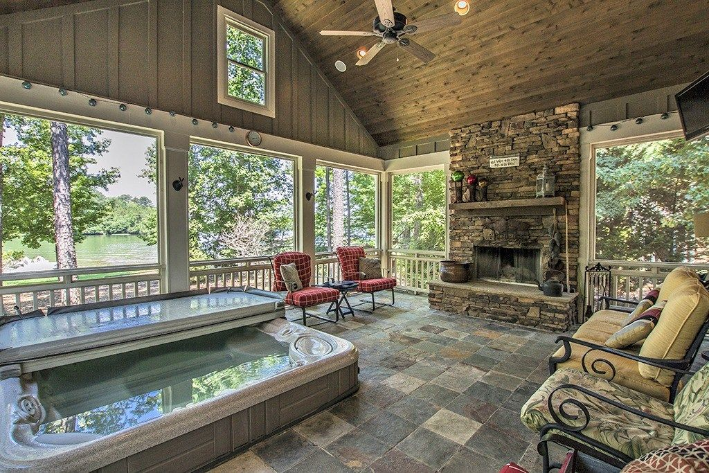 We So Love This Amazing Screened Porch Enjoy The Views Of Lake Oconee From This Cozy Outdoor Entert Hot Tub Room Screened In Porch Diy Screened Porch Designs