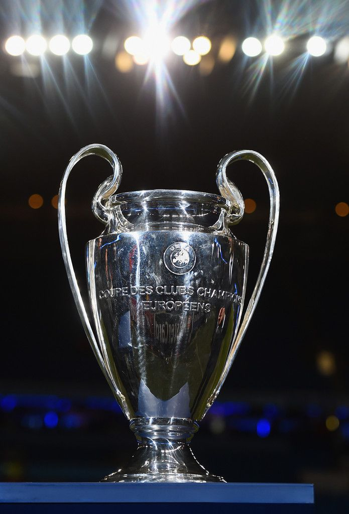 The Champions League Trophy Is Seen Prior To UEFA Round Of 16 Match Between Manchester City And Barcelona At Etihad Stadium On February