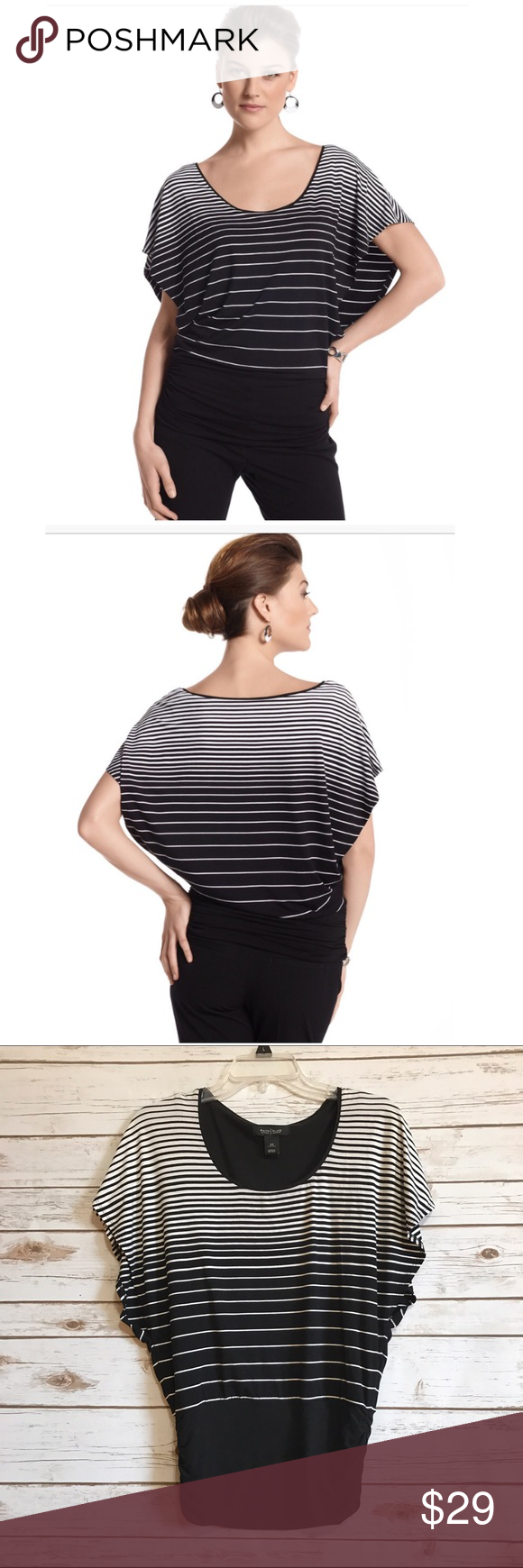 WHBM black ivory striped blouson top Size XS. White House Black Market. Variegated stripes draw the eye upward on this contemporary top with open butter sleeves & a built-in came. Scoop neck. Tapers from the shoulders to the hem. Relaxed blouson fit. Rayon, spandex. EUC (3.1.0)  💟Fast 1-2 day shipping 💟Reasonable offers accepted 💟Purchase 3 or more items & get a special bundle rate!  💟Smoke-free home White House Black Market Tops Blouses