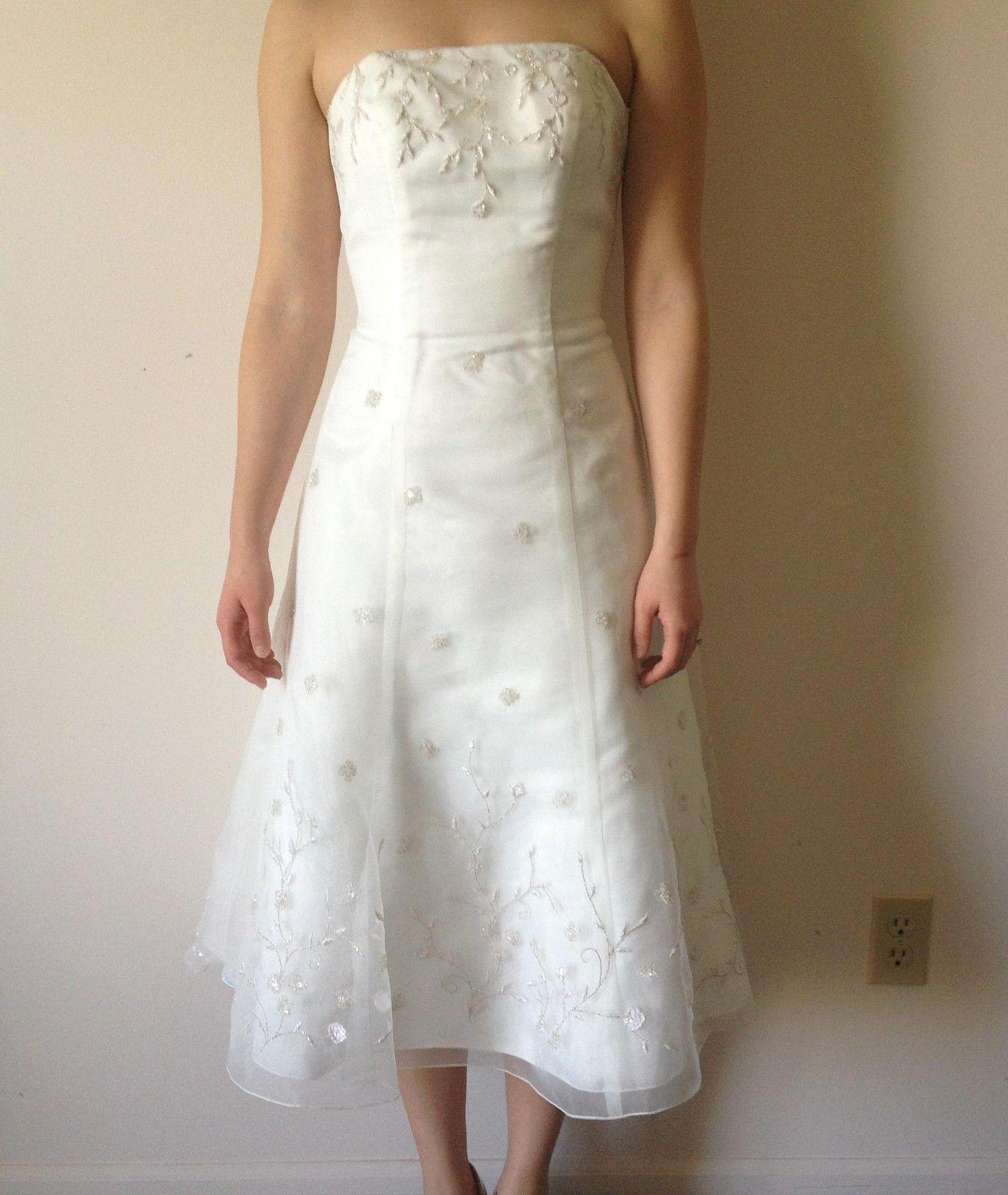 Galina Wedding Dress White Davids Bridal Vw8897 Size 14 New With Tags Destination Wedding Dress Tea Length Wedding Dress Simple Wedding Gowns [ 1600 x 1350 Pixel ]