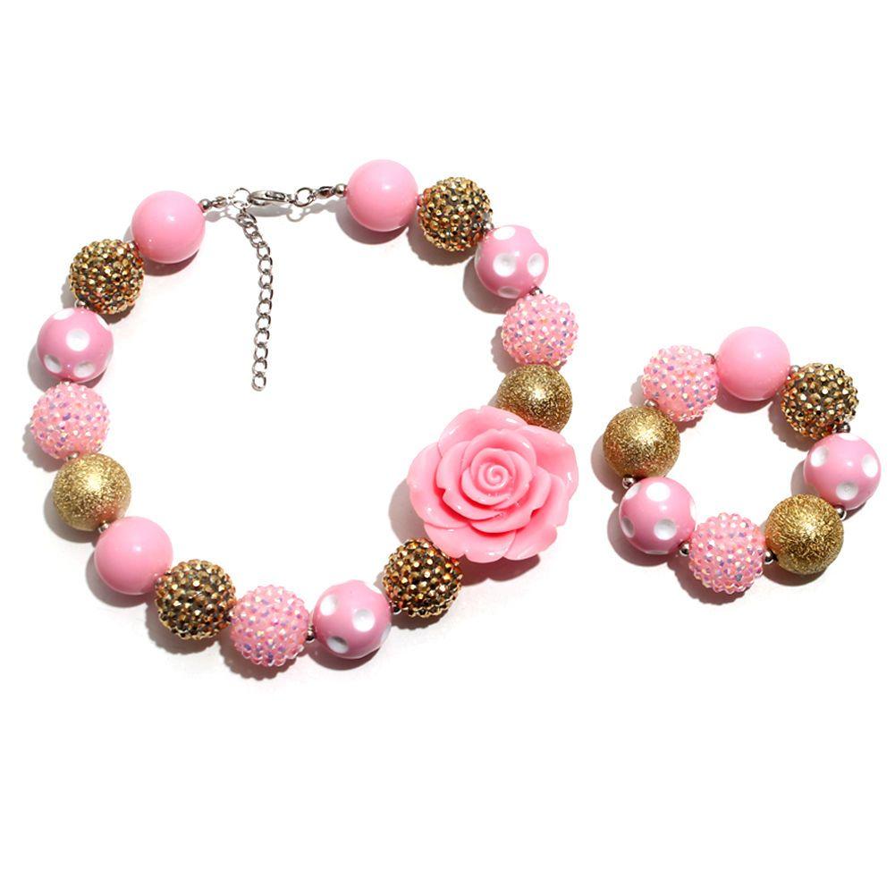 New cm pink gumball bubblegum chunky bead kids necklace bracelet