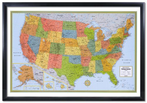 32x50 Rand Mcnally United States Usa Wall Map Framed