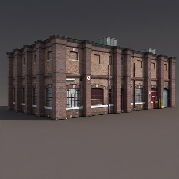 Old Brick Apartment Building: Old Factory Low Poly 3d Building