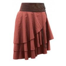 Short Tan Layered Steampunk Skirt