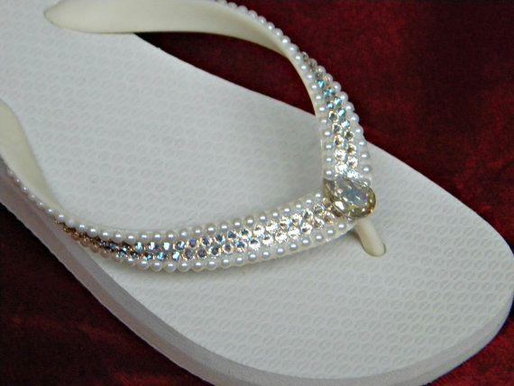 13987d7a5f3 Custom Crystal Wedding Flip Flops w  Swarovski Ivory Moonlight gems Pearl  River Beach Bridal Bling Havaianas flat or Cariris Wedge Heel Shoe