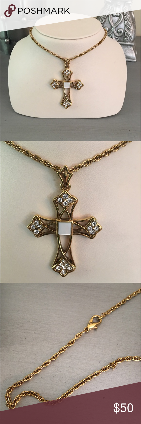 Vatican Library Collection Gold Cross Necklace Gold Tone