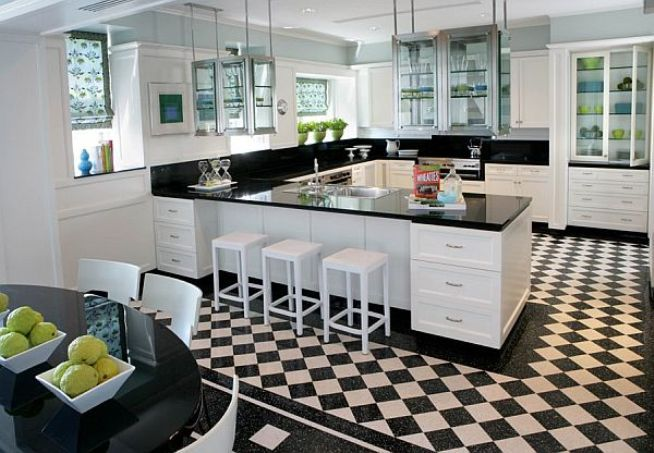 Superieur Black And White Checkered Kitchen Floors