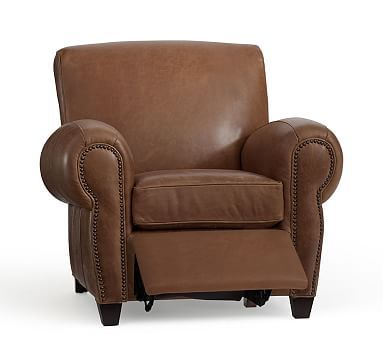 Manhattan Leather Recliner With Bronze Nailheads