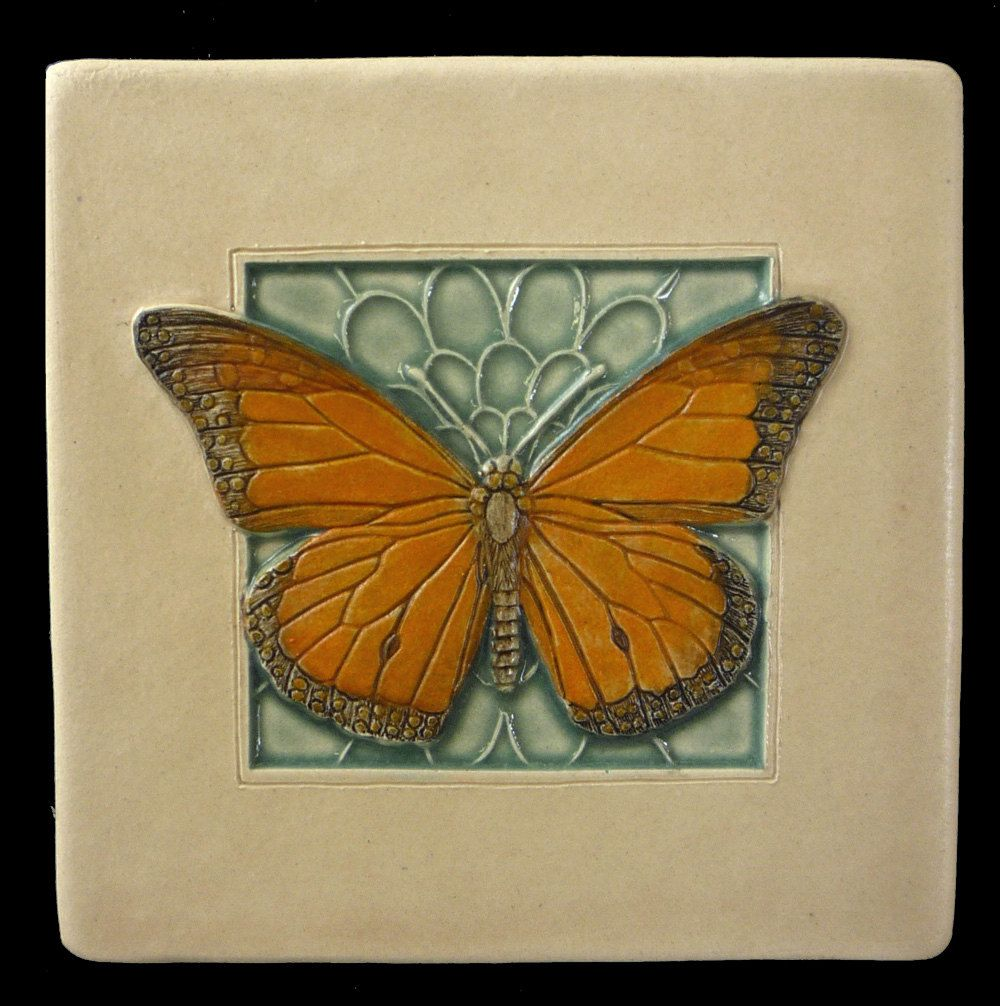 White monarchy wall decor butterflies : Art tile ceramic monarch butterfly inches
