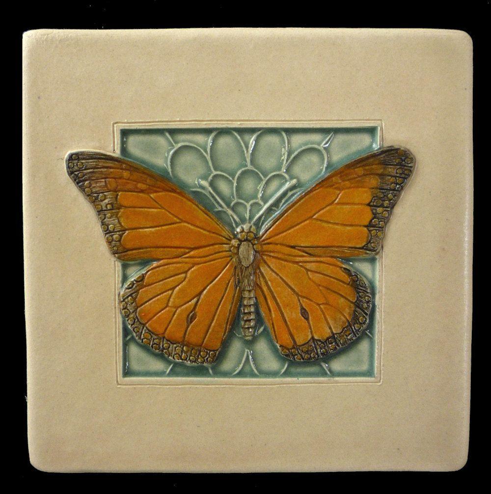 Decorative 4X4 Ceramic Tiles Fair Art Tile Ceramic Tile Monarch Butterfly 4X4 Inches Deco Tile Inspiration