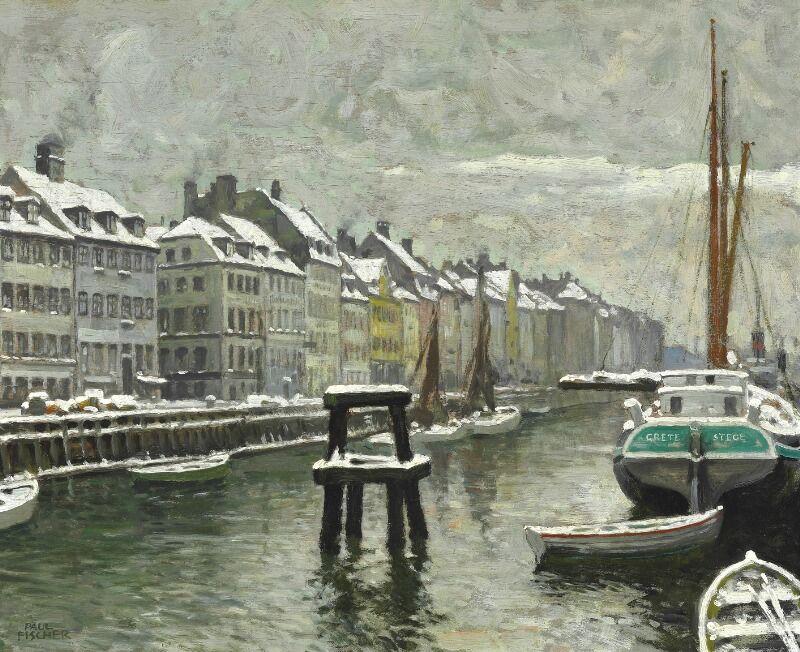 Paul Fischer Vinterdag I Nyhavn Scandinavian Paintings Art Pricing European Paintings