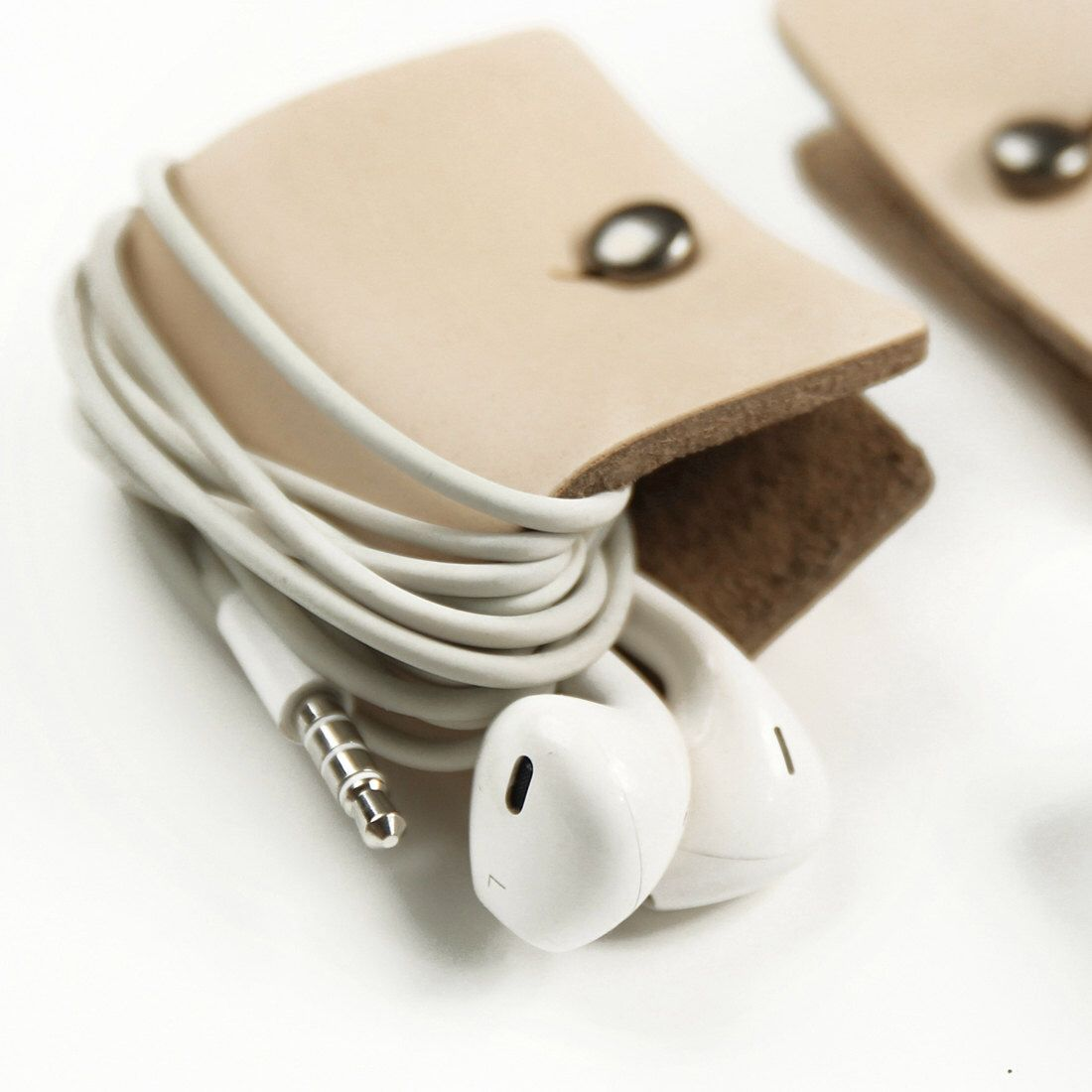 Personalised earphone cable organizer Heart in natural leather The original Rinarts Heart cord keeper.