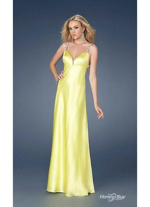 Yellow Elegant Beaded Designer Discount Formal Dresses Gowns