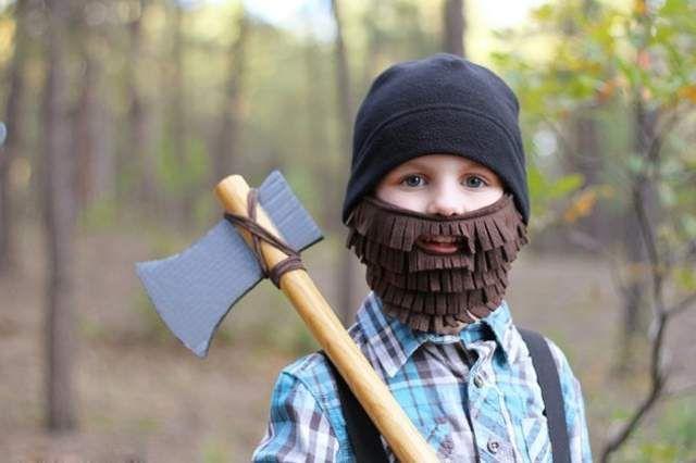 Направи сам - Детска маска – Дрводелец маски, маскенбал, брада, секира, 1 април, први април