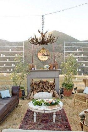 vintage inspired outdoor wedding lounge area