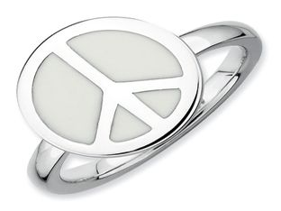 Sterling Silver Enamel Peace Sign Stackable Ring (Online at Gemologica.com)