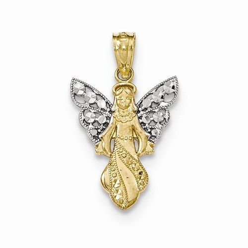 14k two tone gold angel charm pendant angel and pendants 14k two tone gold angel charm pendant aloadofball Gallery