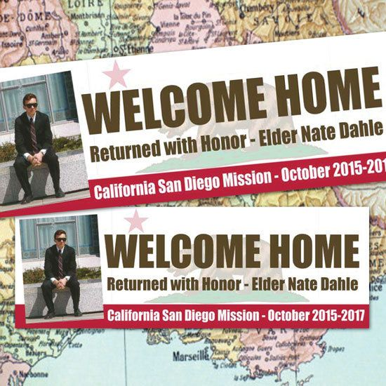 printed welcome home banner lds mission deployment missionary homecoming or farewell