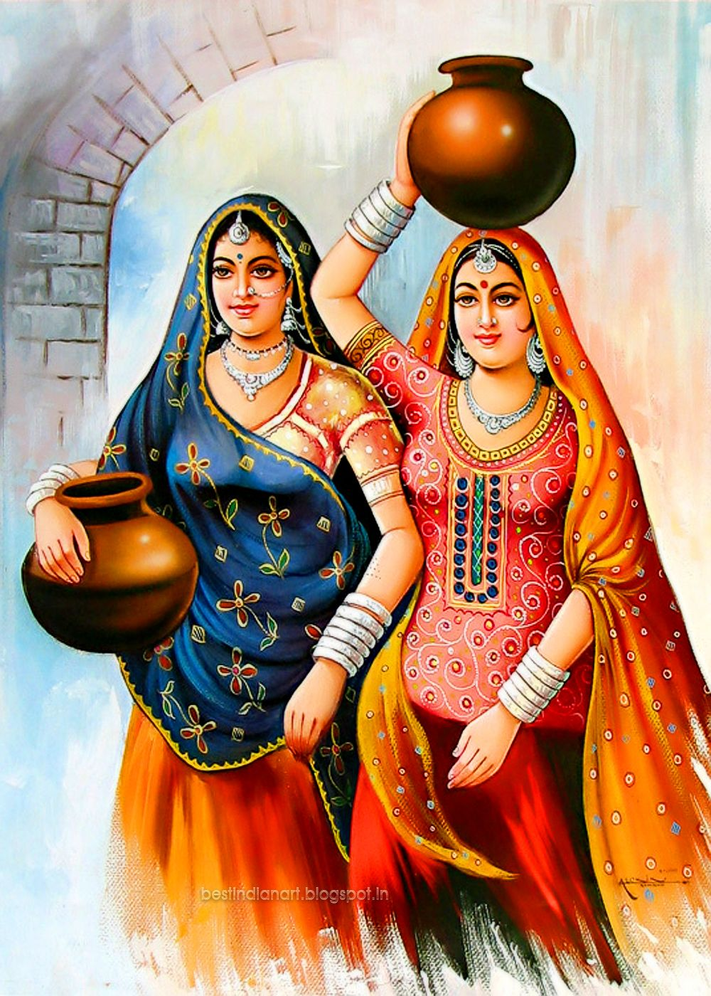 TWO INDIAN VILLAGE WOMAN WITH WATER POT BEST INADIAN ART