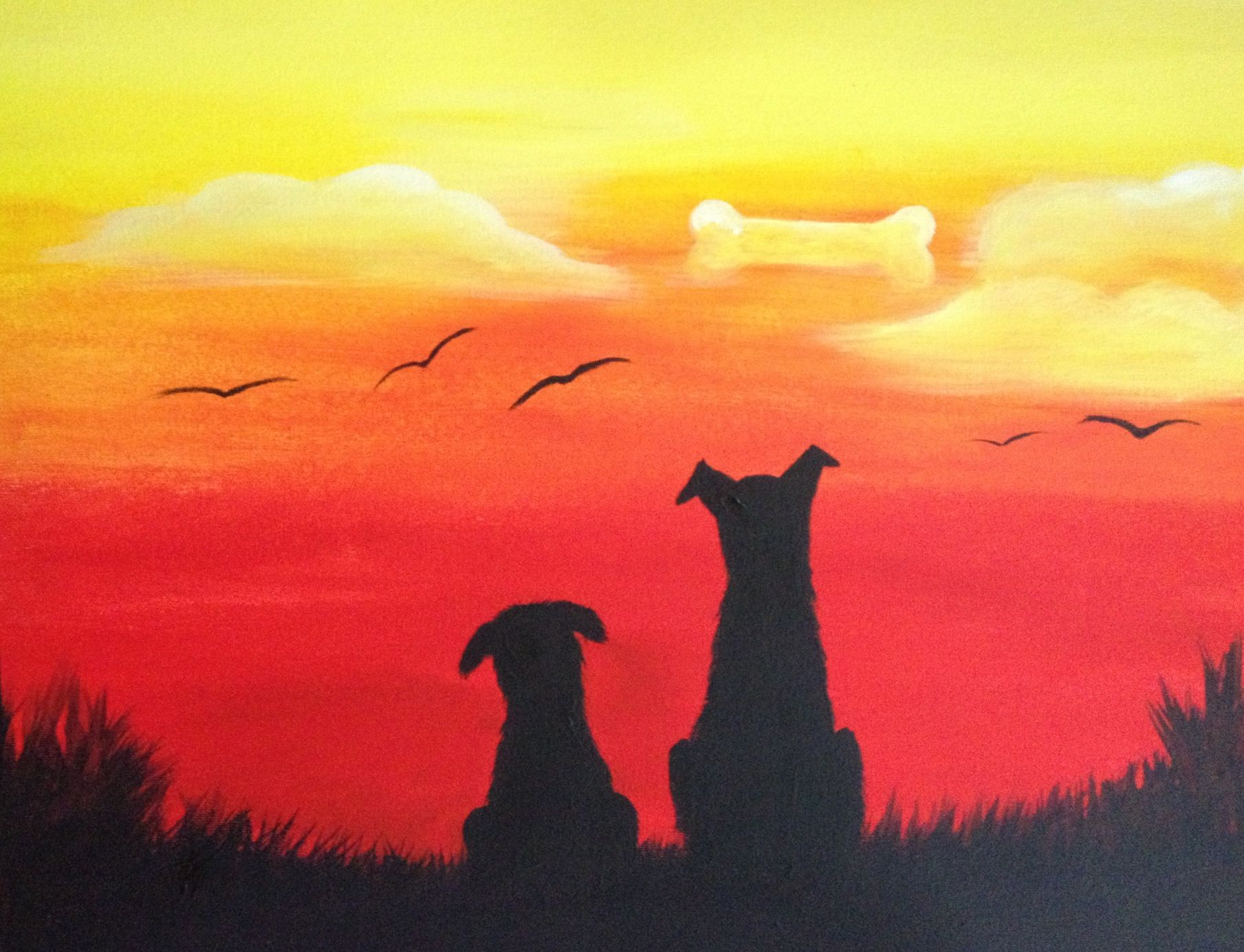 Dog Daze Popular Silhouette Painting Dog Paintings