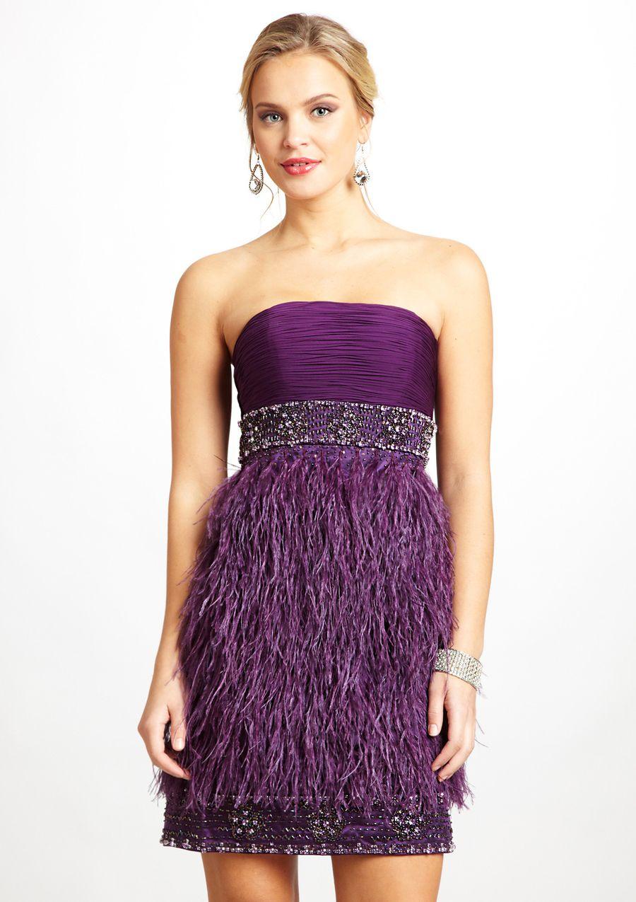 SUE WONG Strapless Feather Dress   Fashion   Pinterest   Estilo