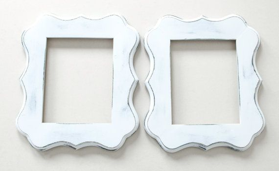 2) 5x7 Distressed Whimsical picture frames - white or choose your ...