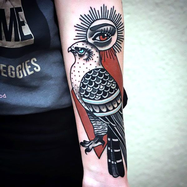 Tattoo Quotes Hawk: Old School Hawk On Forearm Tattoo Idea