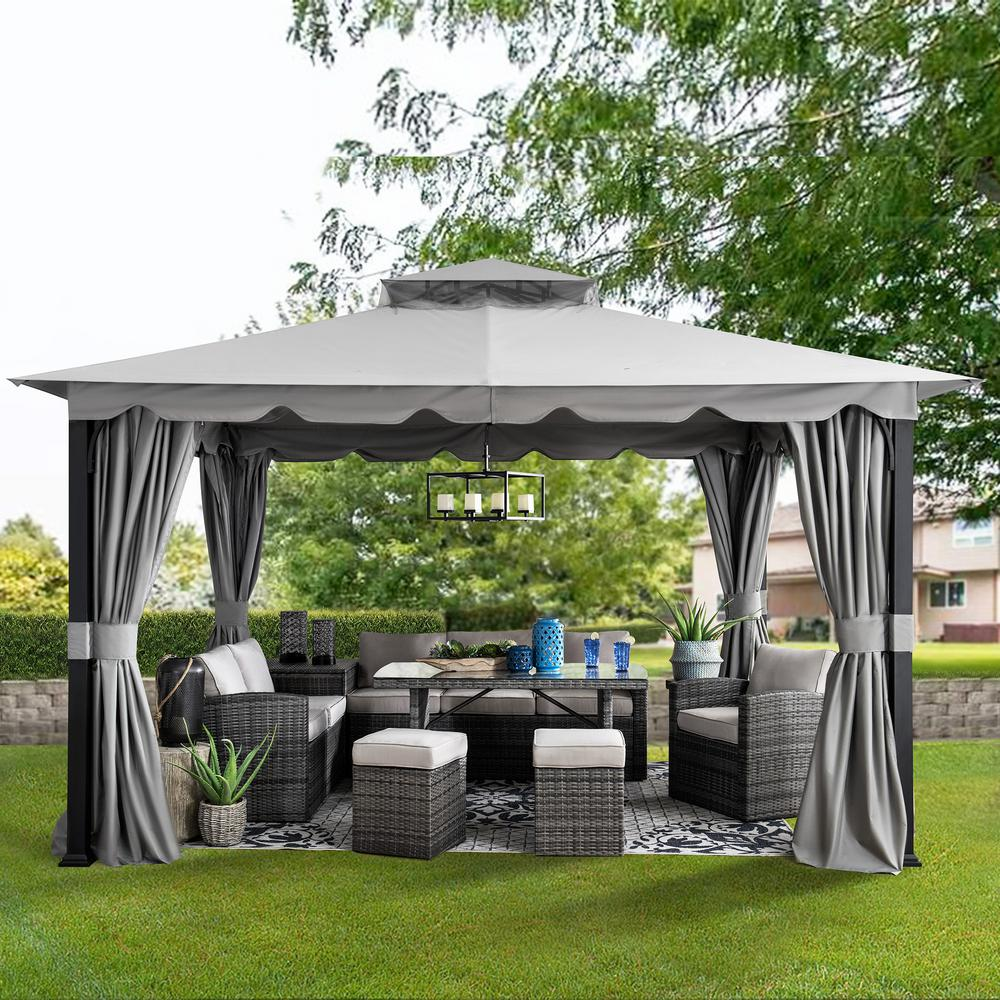 Sunjoy Athenea 10 Ft X 11 Ft Gray Steel Gazebo With 2 Tier Hip Roof And Mosquito Netting A101011400 The Home Depot In 2020 Patio Gazebo Gazebo Steel Gazebo