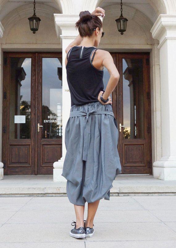 711588902 New Grey Loose Short - Long Extravagant Skirt / Cotton Blend Grey ...