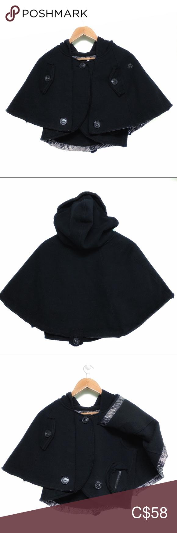 Lululemon Namaste Black Cape Poncho With Hood Black Cape Poncho Cape Clothes Design