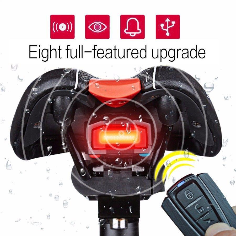 3 In 1 Fahrradalarmanlage Alarmschloss Fahrrad Lampe Rucklicht Leuchte Licht Wireless Alarm Remote Control Mountain Bike Lights