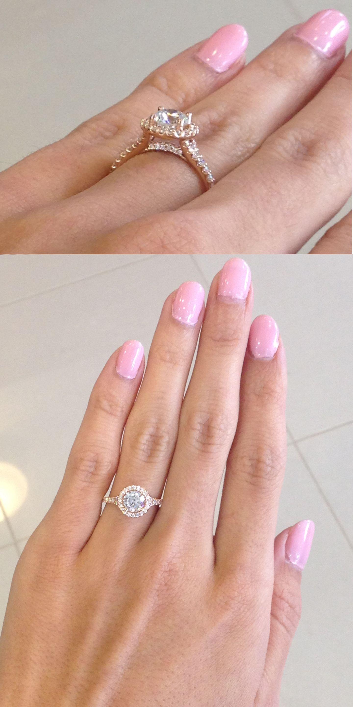 Romance Ring #117496 Rose Gold Round Halo with a slight split shank ...