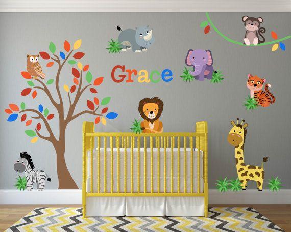 Jungle Animal Safari Lion Giraffe Wall Decals Kids Stickers Etsy Safari Theme Nursery Jungle Nursery Decor Nursery Wall Decals