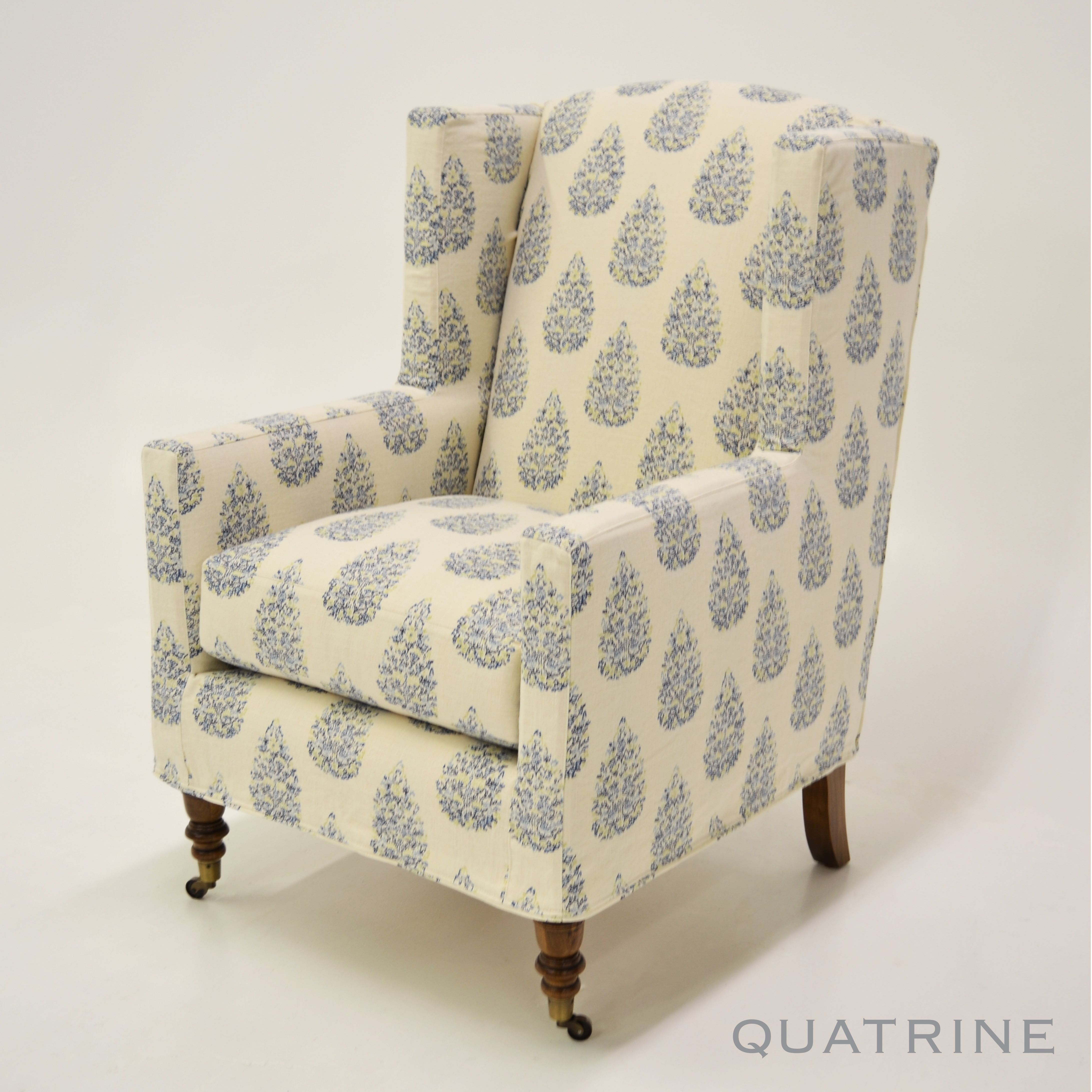 Modern Wingback Tailored Slipcover In Our Teardrop/Multi