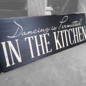 Home U0026 Living Decor, Dancing In The Kitchen Is Permitted Wood Sign, Kitchen  Wall