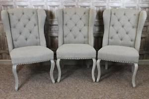Winged Upholstered Dining Chairs With On Back In Stone Linen French Style