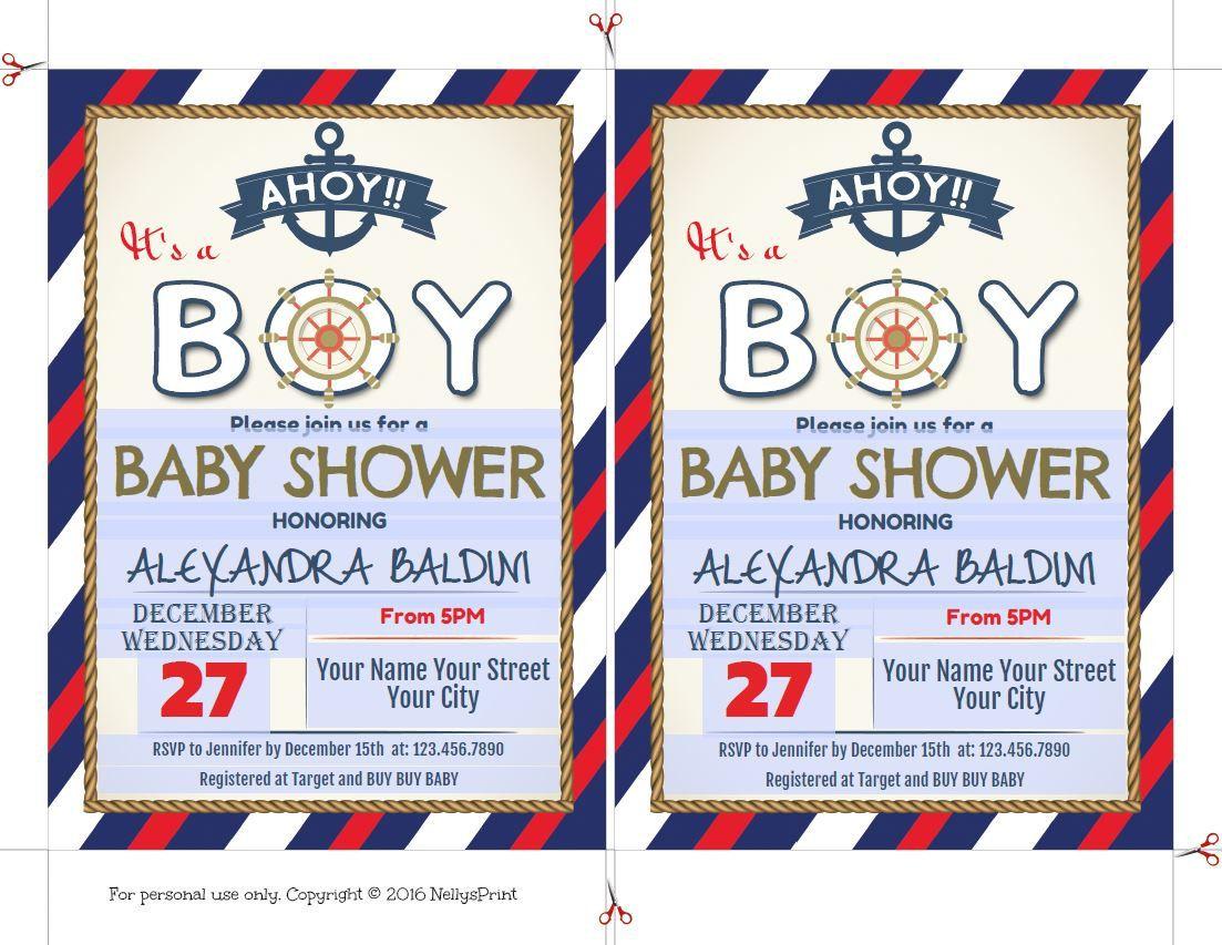 Baby Shower Invitation Boy Nautical Invitations Anchor