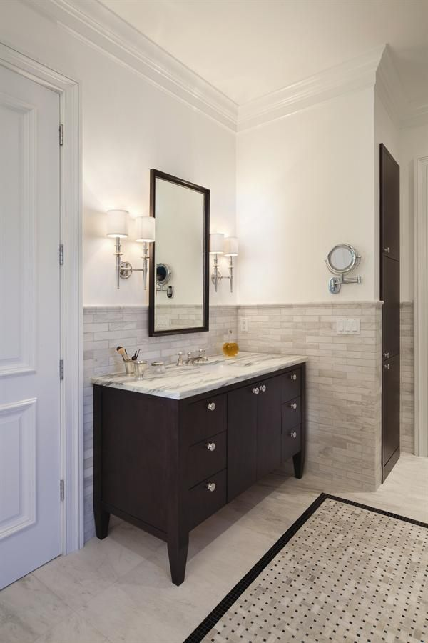 Hall bathroom Tile Colors Sconces bathroom vanity Pinterest