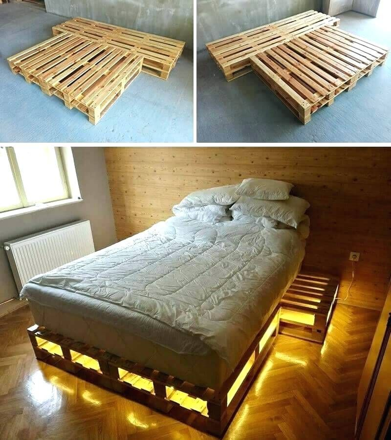 Palette Diy Pallet Bed Frame Instructions King Recycled Wood With