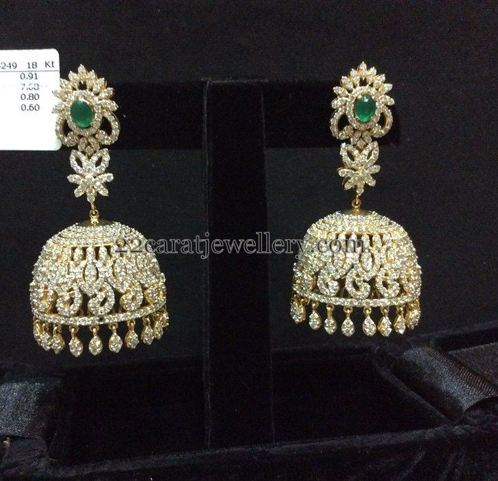 gold jhumka diamond classic index dsc pearl earrings