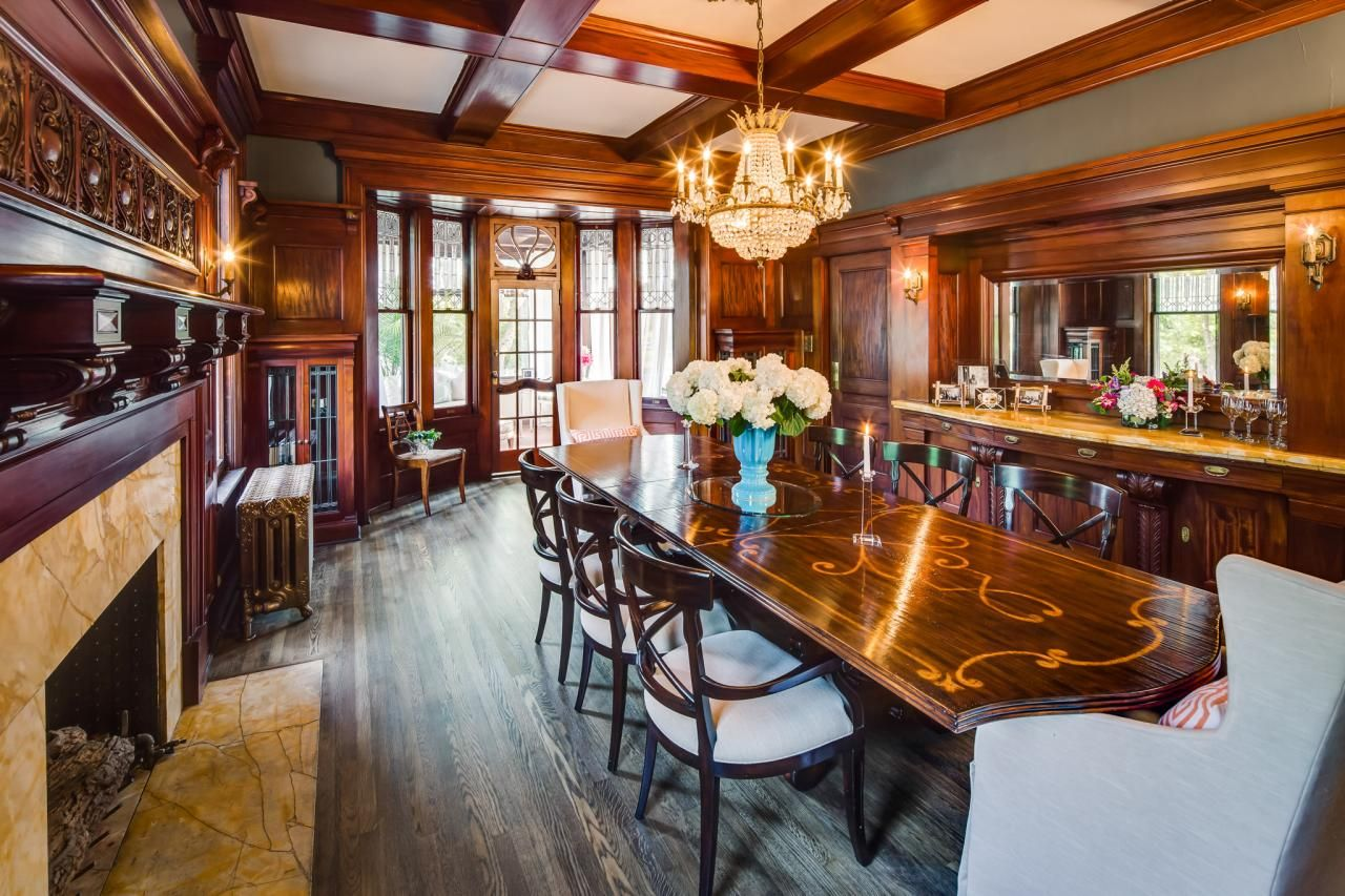 Rehab addict 1904 mansion - Hand Carved Mahogany Walls Surround This Spectacular Dining Restored To Its Fullest Potential On Diy Network S Rehab Addict An Extra Long Dining Table Is