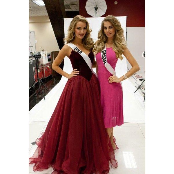 Prom Dress USA Miss Burgundy Basque Waist Velvet Bodice And Tulle ...
