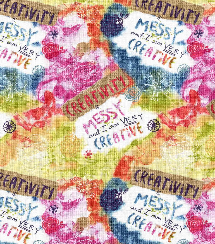 Alexander henry indochine kakomi kanji tea discount designer fabric - Novelty Cotton Fabric Creativity Is Messy Joann Jo Ann