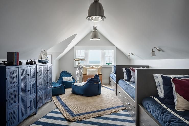 This Attic Bedroom Shared By Three Boys Has A No Frilled Embellishments Just A Tailored Style That Will K Attic Bedroom Designs Sleepover Room Shared Bedrooms