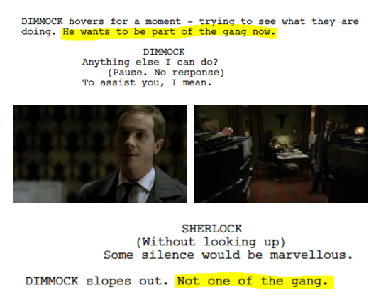 Funny part of The Blind Banker script.
