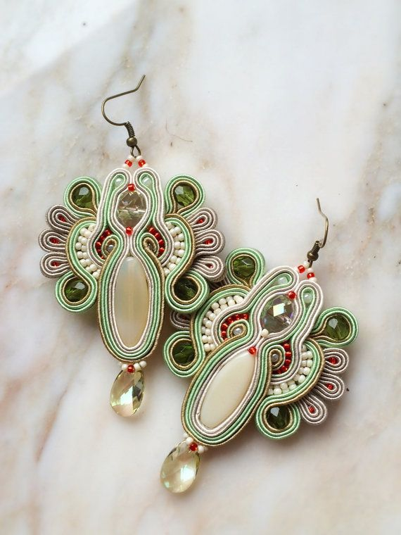 Kobe -fancy pastel soutache earrings in light green, cream, taupe with Swarovski crystals, pendientes soutache, orecchini soutache,