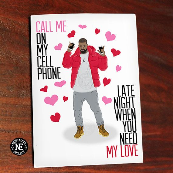 Drake Greetings Card Hotline Bling Love by NostalgiaCollect – Late Valentine Cards