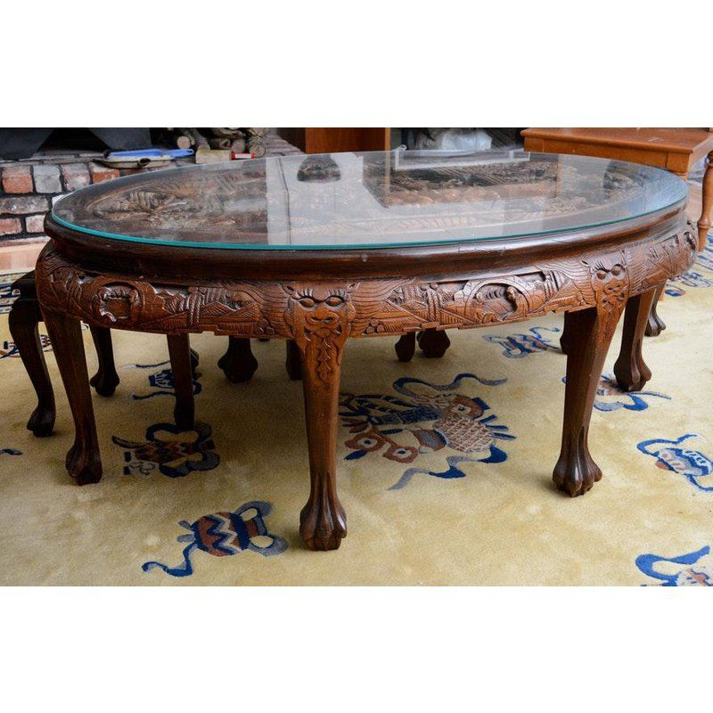 20th Century Asian Mahogany Carved Coffee Tea Table And Stools 4